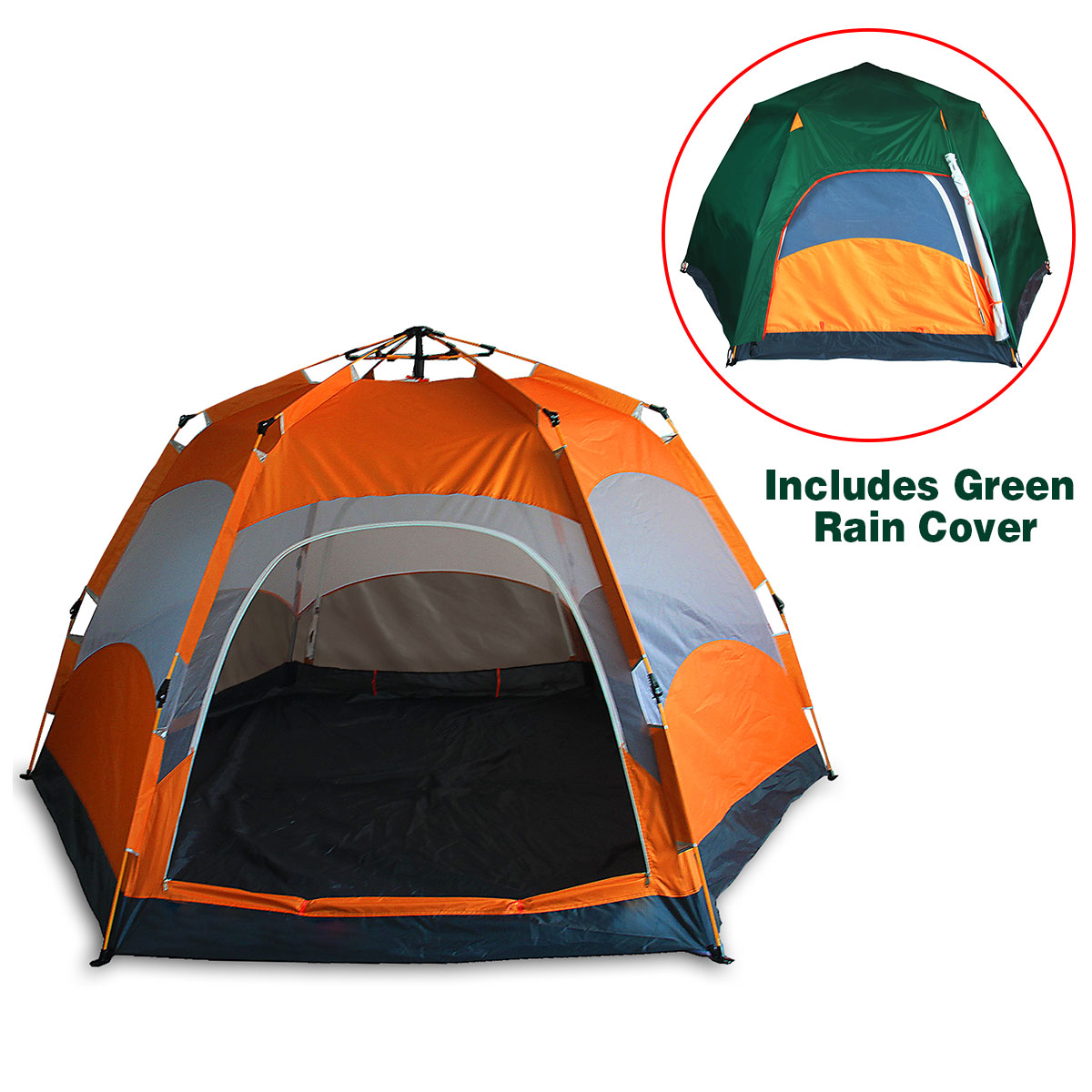 Qwest 4 person Portable Instant Water Resistant Camping Tent Canopy Shelter Green by Qwest