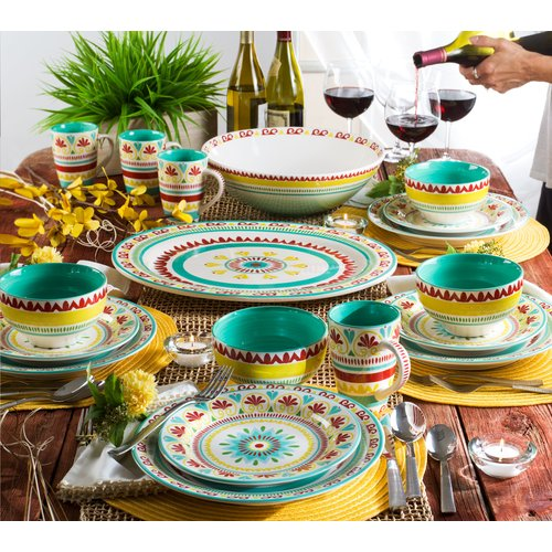 World Menagerie Erving 16 Piece Dinnerware Set Service for 4 & World Menagerie Erving 16 Piece Dinnerware Set Service for 4 ...