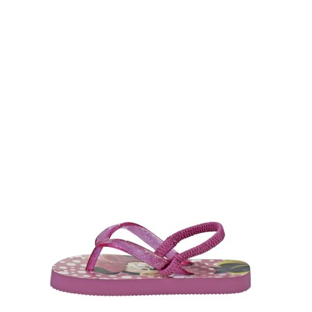 Disney Minnie Mouse Character Beach Flip Flops with Back Strap (Toddler Girls)