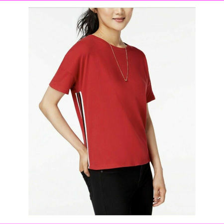 Hippie Rose Cotton Side Stripe T-Shirt Red Large L Cotton Hippie Shirt