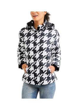 Women's Hooded Puffer Jacket Coat. Product Variants Selector. Rich Black  Print