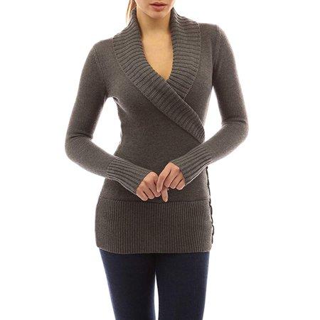 Women Winter Lapel Wrap V Neck Front Cross Bandage Knitwear Knit Tops Sweater Jumper Pullover Outwear Coat Long Sleeve