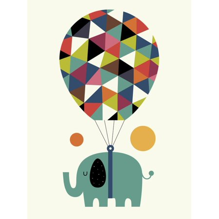Fly High and Dream Big Whimsical Elephant Balloon Childrens Room Nursery Print Wall Art By Andy Westface ()