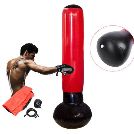 Free Standing Inflatable Punching Bag Boxing Training Pump Fitness Tower Toy 5.4 ft - Punching Toys Inflatable