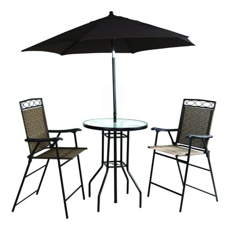Four Piece Folding Bar Height Patio Set with Table and ...