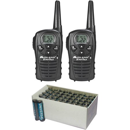 Midland LXT118 18-Mile GMRS Radio Pair Pack and UPG D5323 D5923 Super-Heavy-Duty Battery Value Box (AAA;... by