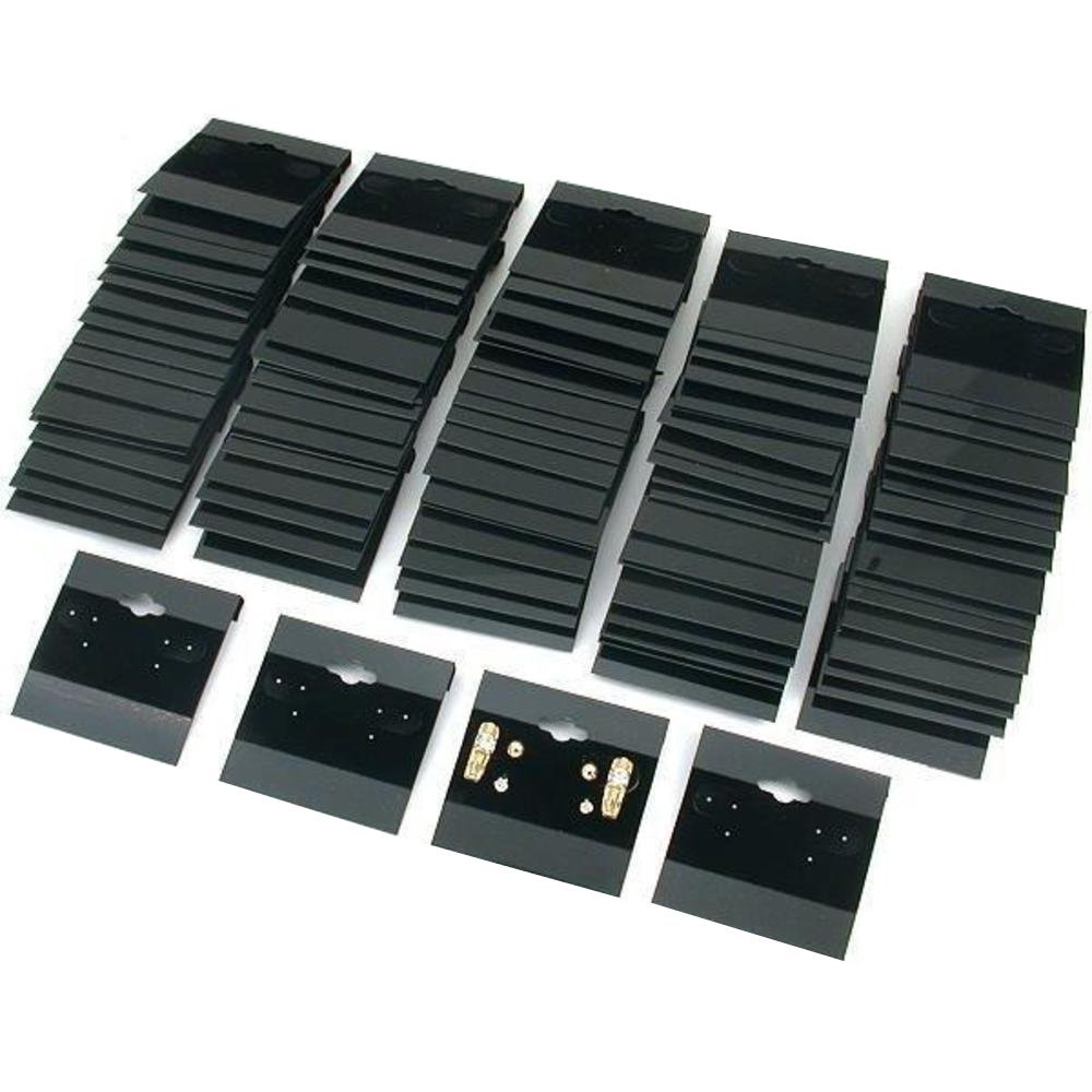 "Black Velvet Plastic Display Cards for Earrings, 2"" x 2"" (100 Pk) by Super Z Outlet"