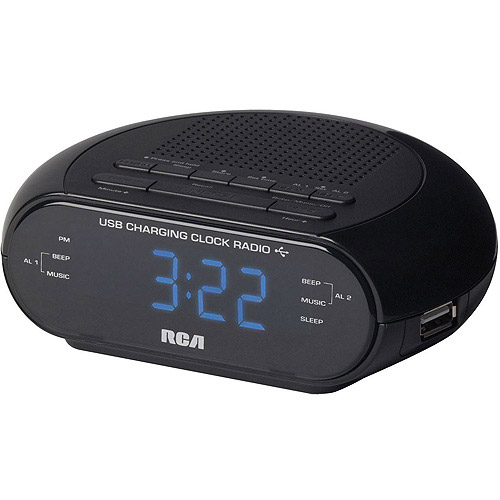 RCA RC207 Dual Wake Clock Radio with USB Charging