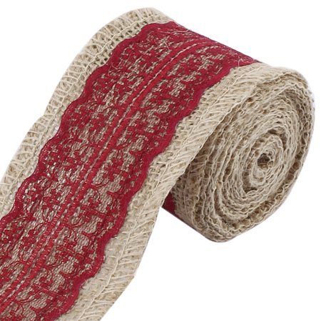 Festival Burlap DIY Gift Wrapping Decorative Handcraft Ribbon Roll Tape Burgundy