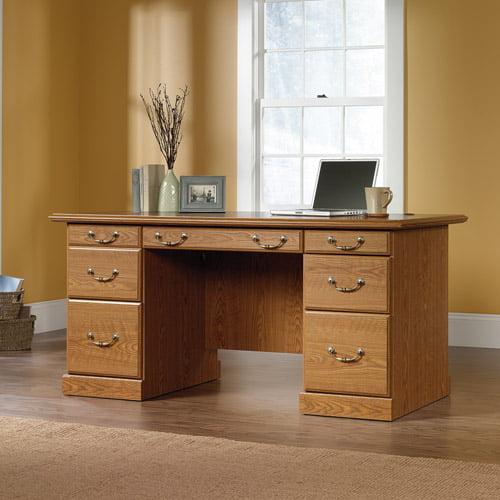 Sauder Orchard Hills Executive Desk, Carolina Oak Finish