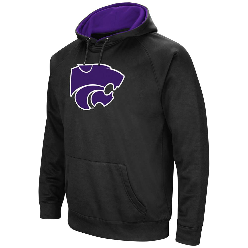 Mens Kansas State Wildcats Black Pull-over Hoodie by Colosseum