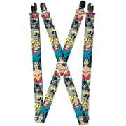 Womens Elastic Female Superhero Clip End Suspenders, Wonder Woman, Supergirl, and Catwoman