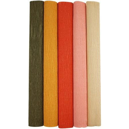 Just Artifacts Premium Crepe Paper Rolls - 8ft Length/20in Width (5pcs, Color: Shades of Orange) - Crepe Paper Rolls