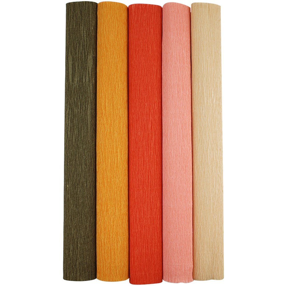 Just Artifacts Premium Crepe Paper Rolls - 8ft Length/20in Width (5pcs, Color: Shades of Orange)