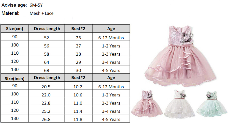 Floral Toddler Baby Girls Sleeveless Dress Princess Pageant Lace Tutu Dress 0-6Y