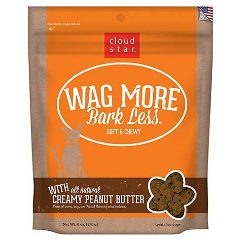 Cloud Star Wag More Bark Less Soft & Chewy Peanut Butter Dog Treats, 6 oz (pack of 1)