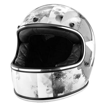Full Face Vintage Style Fiberglass Motorcycle DOT Approved Helmet Gloss White ()
