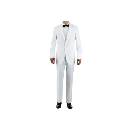 GN GIORGIO NAPOLI Men's Tuxedo Suit One Button Peak Lapel Jacket Adjustable Pant White ()