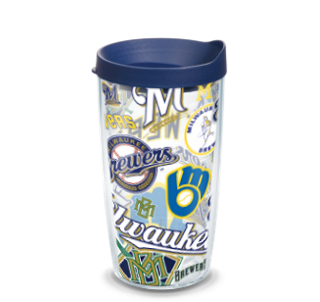 MLB Milwaukee Brewers All Over 16 oz Tumbler with lid