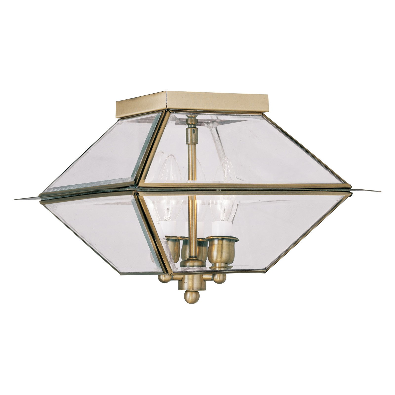 Livex Westover 2185-01 3-Light Outdoor Ceiling Mount in Antique Brass