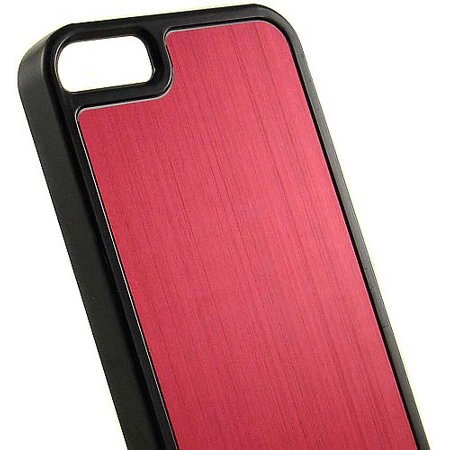 RED BLACK BRUSHED ALUMINUM HARD CASE COVER FOR APPLE iPHONE 5 -