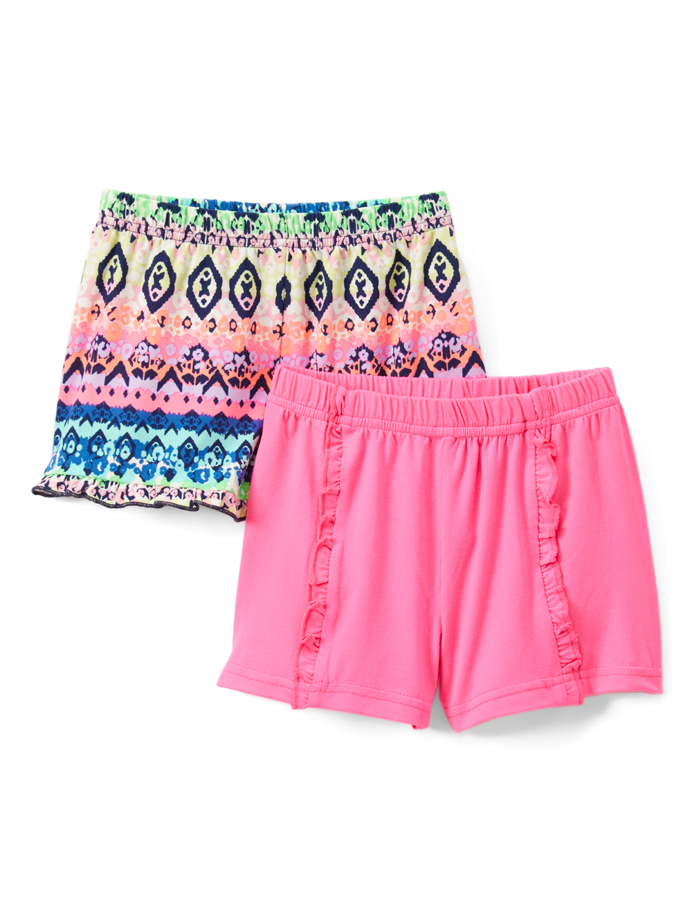 Solid and Printed Ruffle Shorts, 2-pack (Toddler Girls)