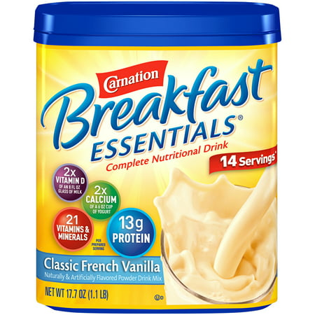 Carnation Breakfast Essentials Classic French Vanilla Complete Nutritional Drink, 17.7 oz Canister