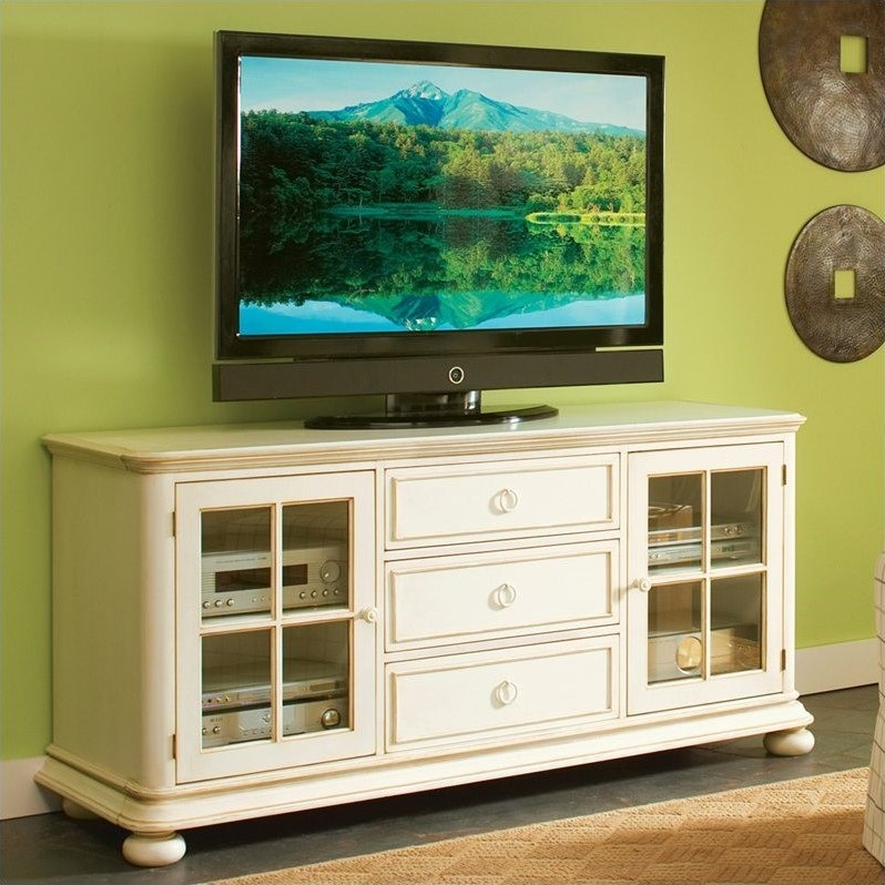"Riverside Furniture Placid Cove 69"" TV Console in Honeysuckle White"
