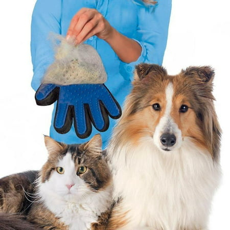 1 Left-hand Pack Pet Grooming Glove, Pet Hair Remover, Deshedding Brush Supplies with Enhanced Five Finger Design, Ideal for Dogs, Cats and Horses with Long and Short Fur