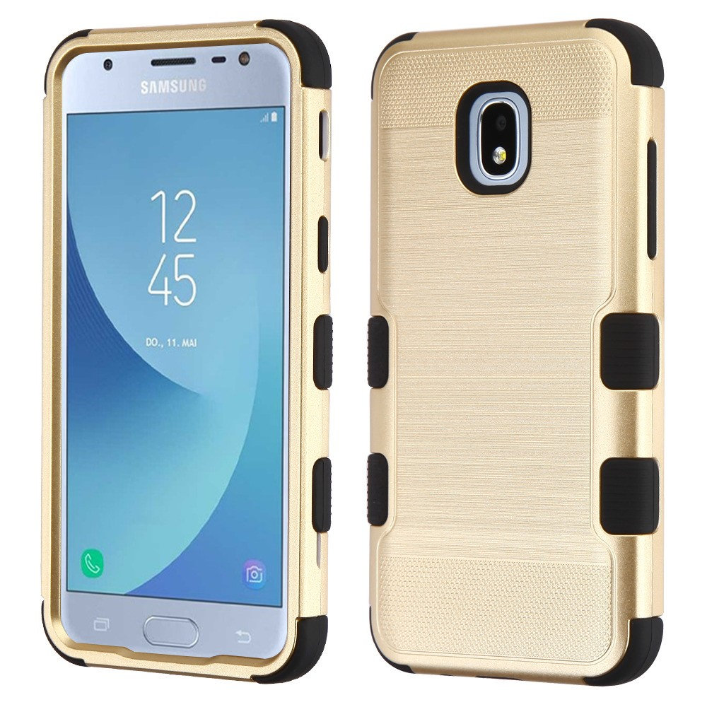 TUFF Hybrid Series Military Grade Certified Metallic Brushed Slate Finish Phone Protector Cover Case and Atom Cloth for Samsung Galaxy Express Prime 3 (J337A) - Gold/Black