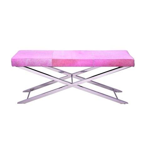 Awesome Horizon Interseas Inc Cross Base Dusty Pink Bench Machost Co Dining Chair Design Ideas Machostcouk