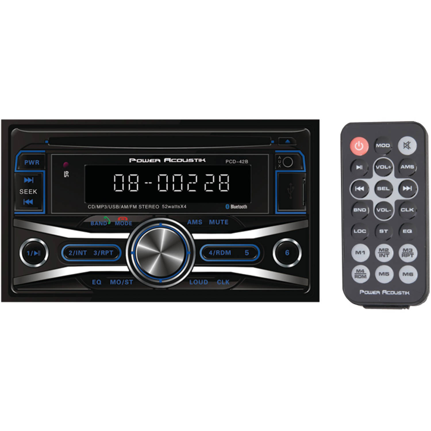 Power Acoustik PCD_42B Double-DIN In-Dash CD Receiver with 32GB USB Playback with Bluetooth