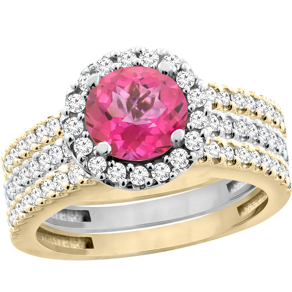 10K Gold Natural Pink Topaz 3-Piece Ring Set Two-tone Round 6mm Halo ...
