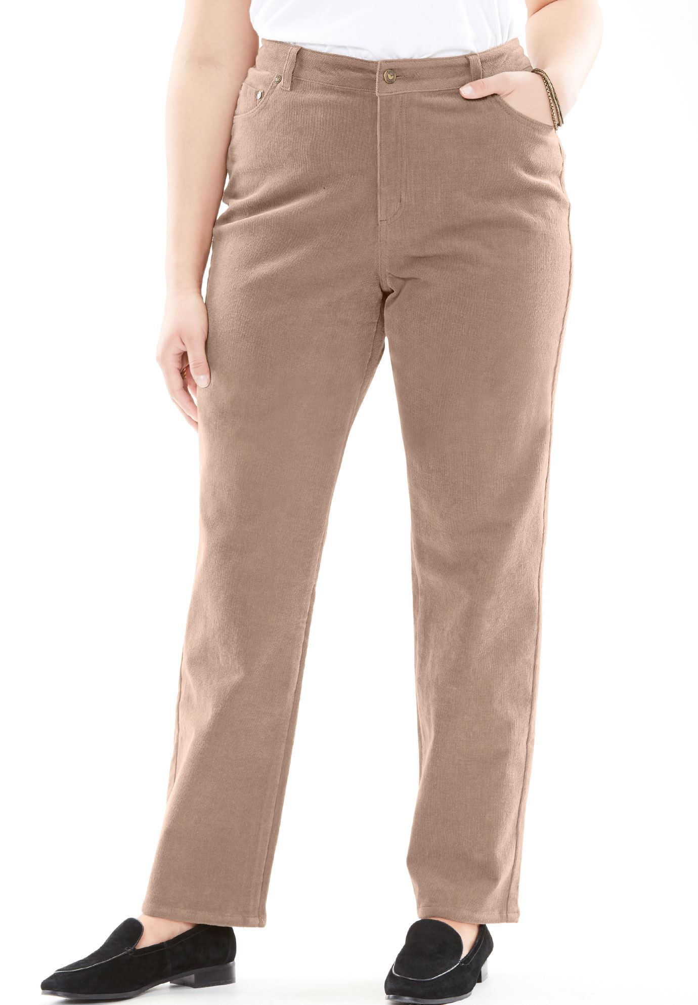 Woman Within Plus Size Corduroy Straight Leg Stretch Pant