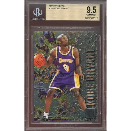 1996 97 Metal 181 Kobe Bryant Los Angeles Lakers Rookie Card Bgs 95