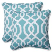 Pillow Perfect Outdoor/ Indoor New Geo Aqua 18.5-inch Throw Pillow (Set of 2)