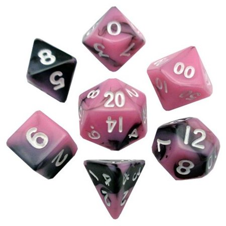 Metallic Dice Games LIC473 10 mm Mini Dice, Set of 7 - Pink & Black with White Numbers - image 1 of 1
