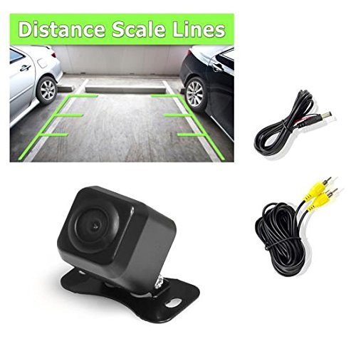 PYLE PLCM37FRV - Universal Mount Front Rear Camera - Marine Grade Waterproof Built-in Distance Scale Lines Backup Parking/Reverse Assist Cam w/Night Vision LED Lights 420 TVL Resolution & RCA Output