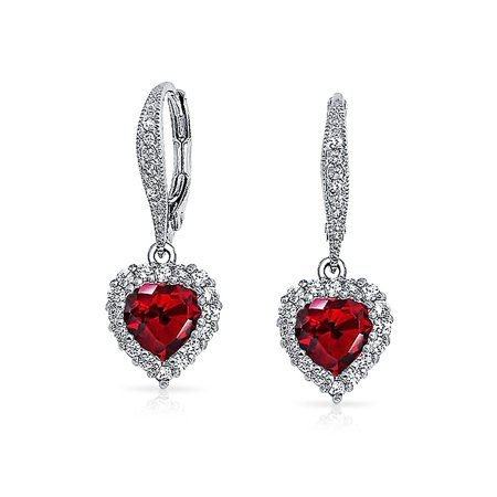 Red Heart Cubic Zirconia Pave CZ Halo Leverback Dangle Earrings Women Girlfriend Simulated Garnet Silver Plated Brass