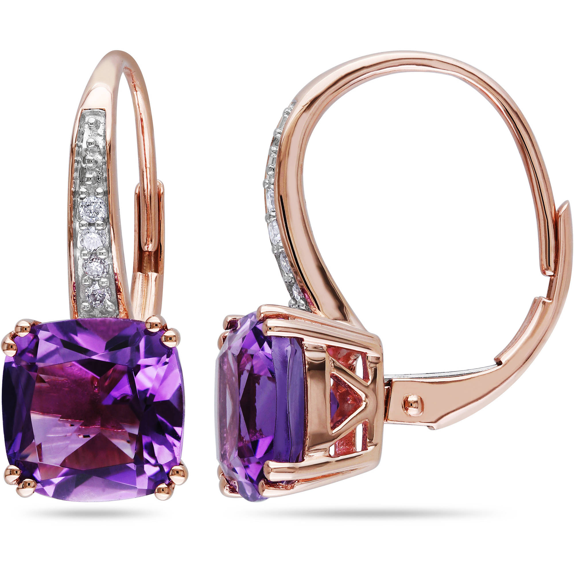 3-1 2 Carat T.G.W. Amethyst and Diamond-Accent 10kt Pink Gold Leverback Earrings by Generic