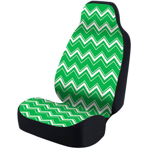 Coverking Universal Seat Cover Fashion Print, Ultra Suede, Chevrons White and Green Background with Black Interlock Backing