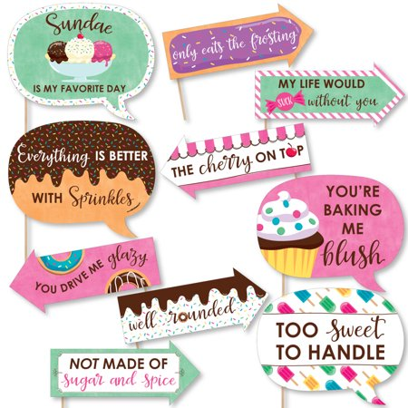 Funny Sweet Shoppe - Candy and Bakery Birthday Party or Baby Shower Photo Booth Props Kit - 10 Piece](Candy Photos)