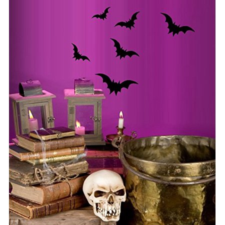 HALLOWEEN DECOR ~ BATS 6 COUNT ~ HALLOWEEN: WALL OR WINDOW DECAL, 13