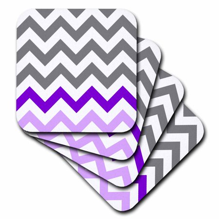 3dRose Charcoal grey chevron with purple zig zag accent - gray zigzag pattern, Soft Coasters, set of
