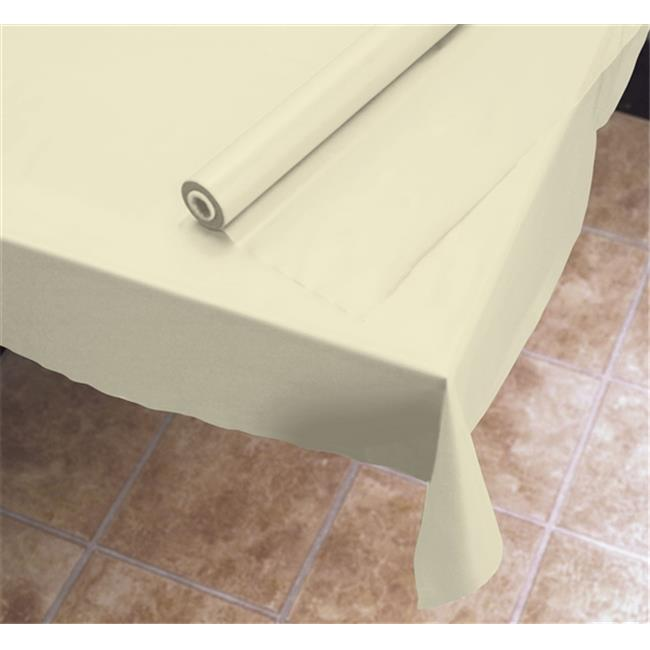 HFM 113002 40 in. x 100 ft. Plastic Roll Table Cover, Ivory