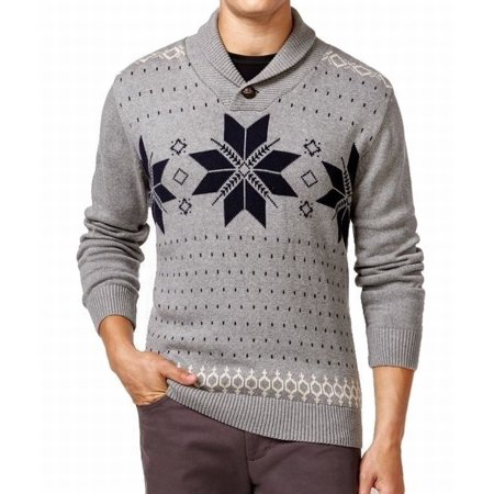 Weatherproof Gray Mens Size Large L Fair-Isle Shawl Collar Sweater (Isle Sweater)