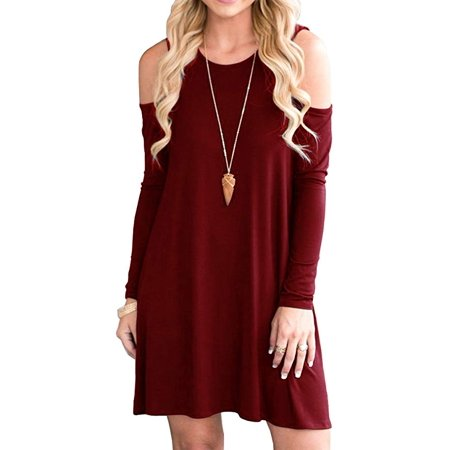 Women Cold Shoulder Tunic Top Swing T-Shirt Loose Dress with Pockets