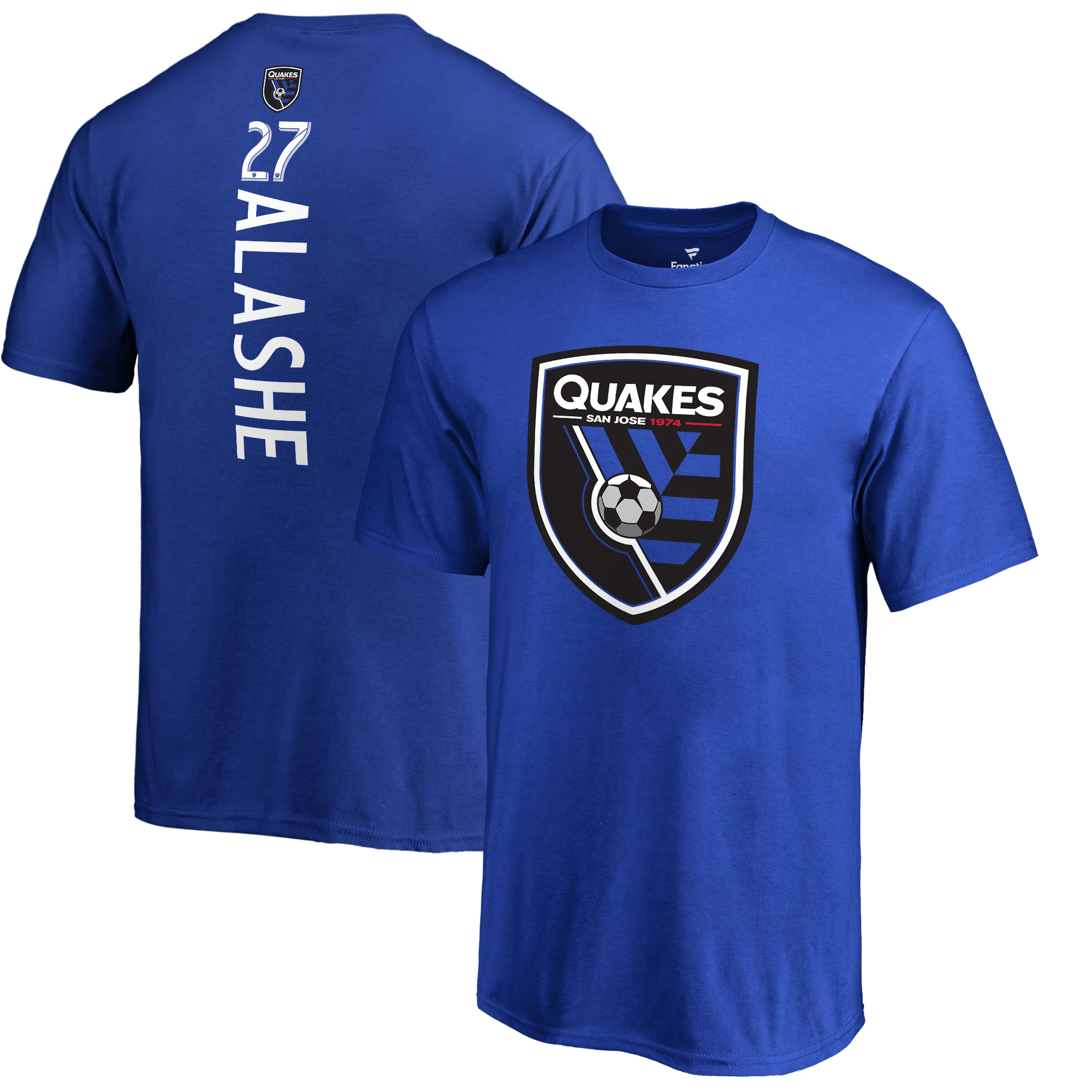 Fatai Alashe San Jose Earthquakes Fanatics Branded Youth Backer Name & Number T-Shirt - Blue