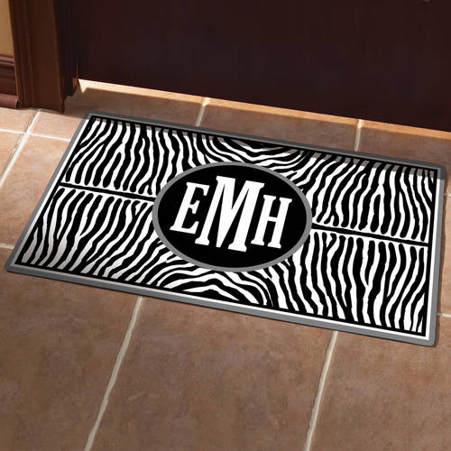 Personalized Zebra Monogram Doormat, Available in Different Sizes and Colors