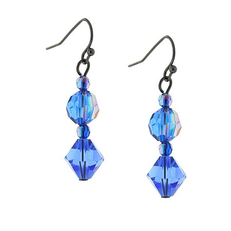 Jet Sapphire Blue AB Drop Earrings - 1928 Jet